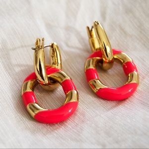 Kate Spade Hot Bright Pink and Gold Earrings